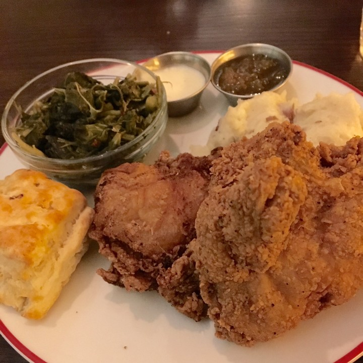fried chicken collard greens mashed potatoes
